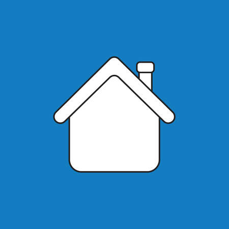Vector icon concept of house with red roof. White color with black outlines and blue background.