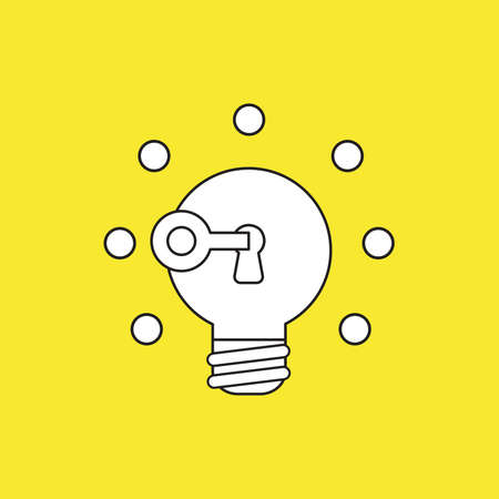 Vector icon concept of key unlocking light bulb idea glowing. White color with black outlines and yellow background.  イラスト・ベクター素材