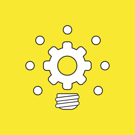 Vector icon concept of gear light bulb glowing. White color with black outlines and yellow background.