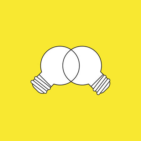 Vector icon concept of unite ideas, light bulbs, teamwork. White color with black outlines and yellow background.