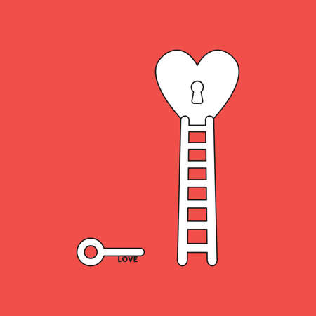 Vector icon concept of love key reach keyhole in heart with wooden ladder. Vector Illustratie