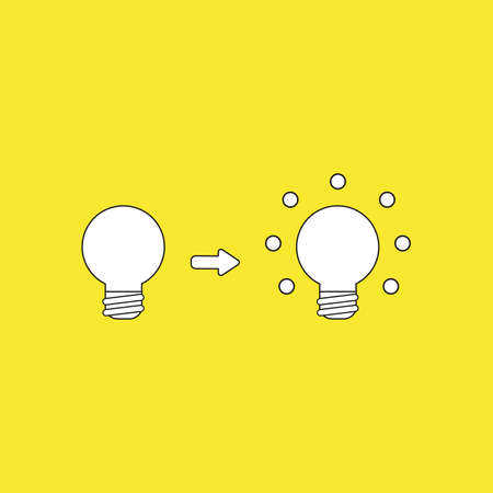 Vector icon concept of light bulb and glowing light bulb, bad and good ideas. White color with black outlines and yellow background.