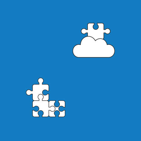 Vector icon concept of three puzzle pieces connected and missing puzzle piece on the cloud. White color with black outlines and blue background.