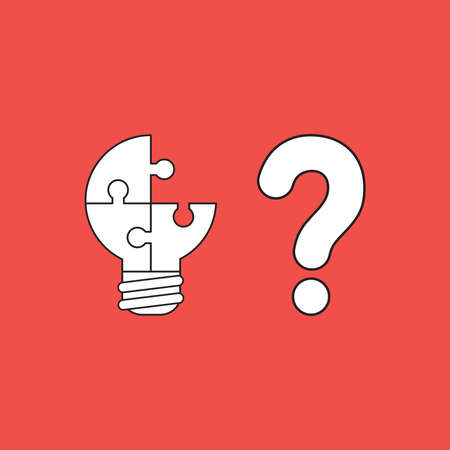 Vector icon concept of three connected light bulb puzzle, missing piece with question mark. White color with black outlines and red background. 向量圖像