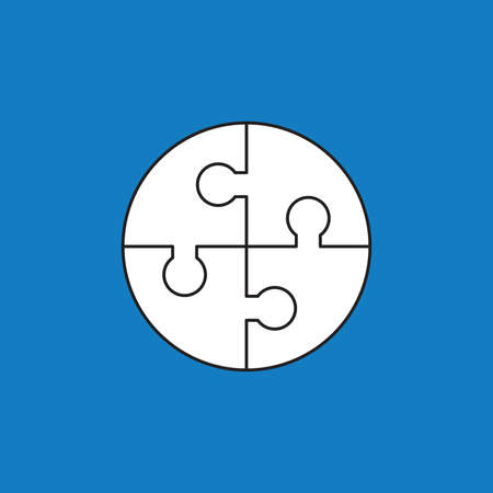 Vector icon concept of circle shape puzzle pieces connected. White color with black outlines and blue background.