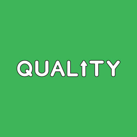 Vector icon concept of quality word text with arrow moving up. White color with black outlines and green background. Ilustração