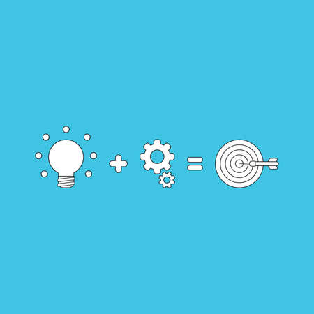 Vector icon concept of glowing light bulb plus gears equals bulls eye with dart in the center. White color with black outlines and blue background.  イラスト・ベクター素材