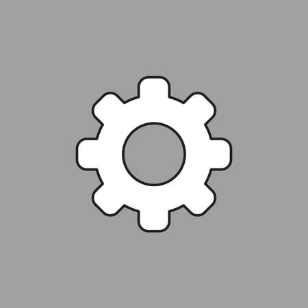 Vector icon of gear. Black outlines. White color and grey background.