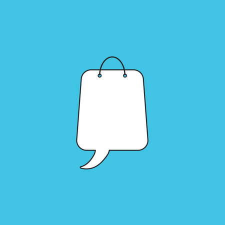 Vector icon concept of shopping bag with speech bubble. White color with black outlines and blue background. Иллюстрация