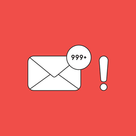 Vector icon concept of closed envelope email and lot of junk spam emails with exclamation mark. White color with black outlines and red background.