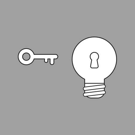 Vector icon concept of light bulb with keyhole and key. White color with black outlines and grey background.