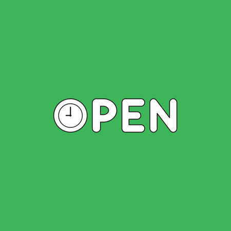 Vector icon concept of open text with clock time shows 9 oclock. White color with black outlines and green background.