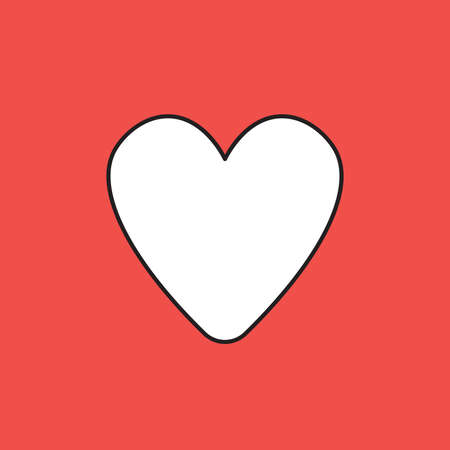 Vector icon of heart shape. White color with black outlines and red background.