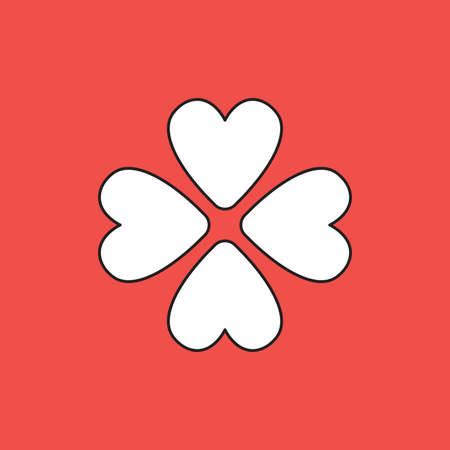 Vector icon concept of rotated four hearts. White color with black outlines and red background.