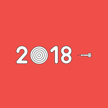 Vector icon concept of year of 2018 word text with bulls eye and dart. White color with black outlines and red background. Ilustrace