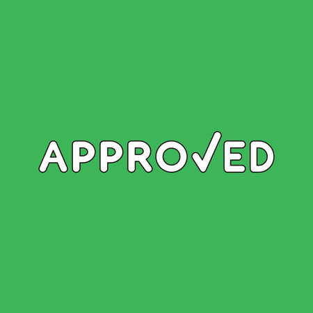 Vector icon concept of approved word with check mark. White color with black outlines and green background. 向量圖像