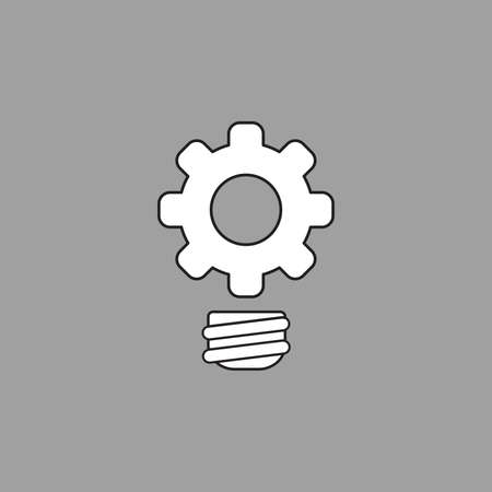 Vector icon concept of gear light bulb. White color with black outlines and grey background.