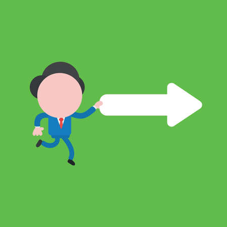 Vector illustration concept of businessman character running and holding right arrow. Green background.