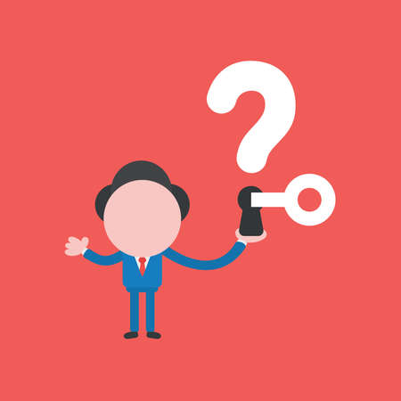 Vector illustration concept of businessman character holding question mark with keyhole and key unlock. Red background.