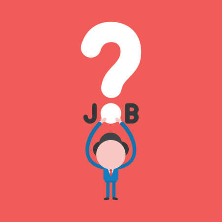 Vector illustration concept of businessman character holding up job word with question mark icon. Red background.