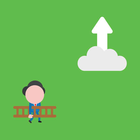 Vector illustration concept of businessman character carrying wooden ladder to reach arrow moving up on cloud. Green background.