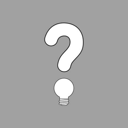 Vector illustration concept of question mark with light bulb. White colored, black outlines and grey background.