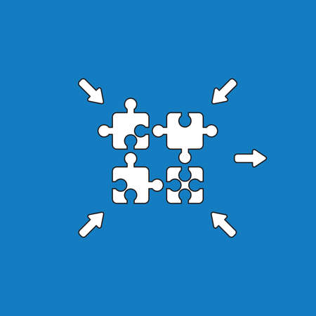 Vector illustration concept of four jigsaw puzzle pieces connecting. White colored, black outlines and blue background.