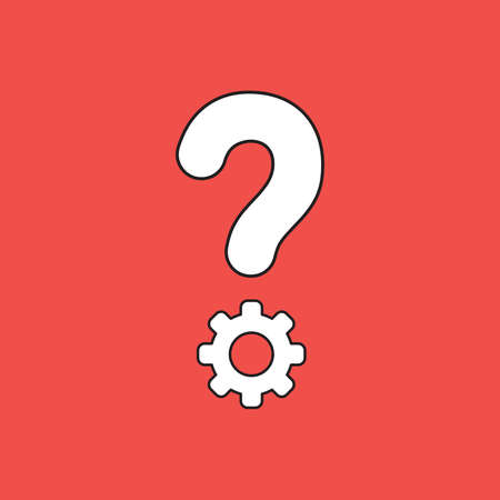 Vector illustration concept of question mark with gear. White colored, black outlines and red background.