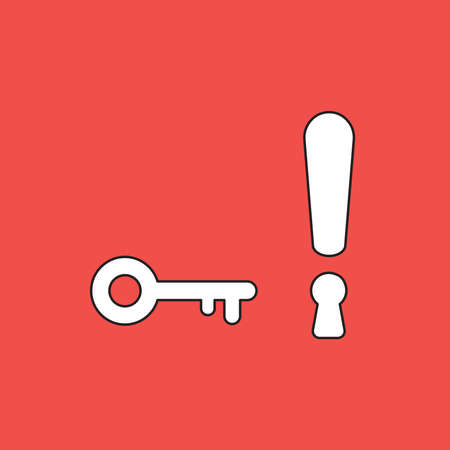 Vector illustration concept of exclamation mark with keyhole and key. White colored, black outlines and red background.