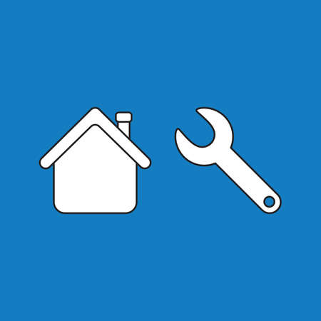Vector illustration concept of repair house with spanner. White colored, black outlines and blue background. Archivio Fotografico - 143553319