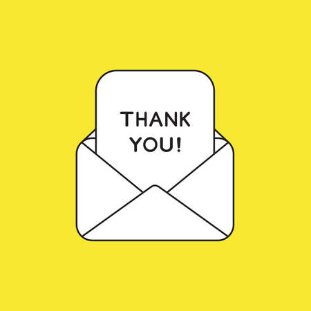 Vector illustration concept of open envelope mail with thank you written on paper. White colored, black outlines and yellow background.