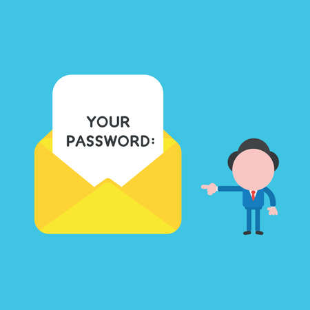 Vector illustration concept of businessman character pointing open envelope and written your password on paper. Blue background. 向量圖像