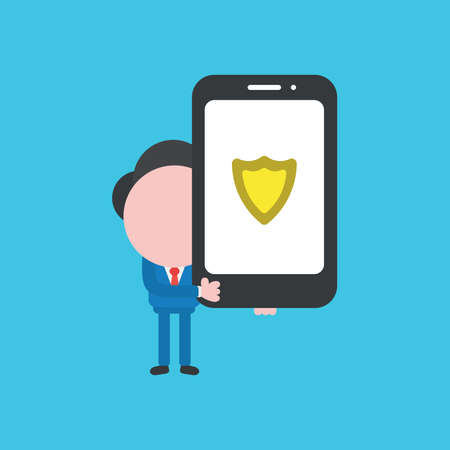 Vector illustration concept of businessman character holding smartphone with guard shield. Blue background.
