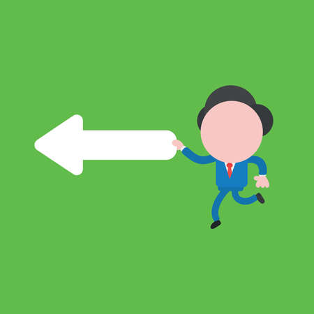 Vector illustration concept of businessman character running and holding left arrow. Green background. Vettoriali