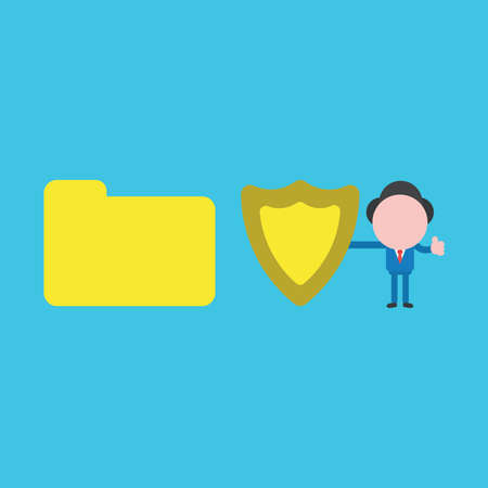 Vector illustration concept of businessman character holding guard shield with closed file folder. Blue background.