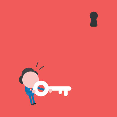 Vector illustration concept of businessman character holding key and looking keyhole above. Red background.