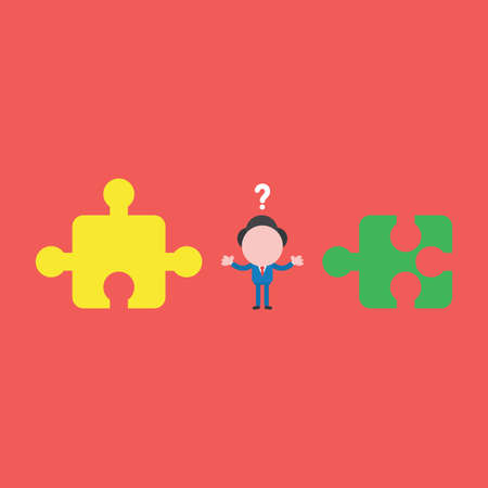 Vector illustration concept of confused businessman character with two incompatible jigsaw puzzle pieces. Red background.