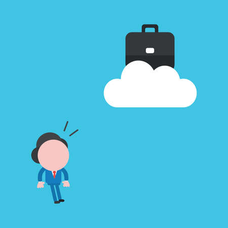 Vector illustration concept of businessman character looking briefcase on cloud. Blue background. 向量圖像
