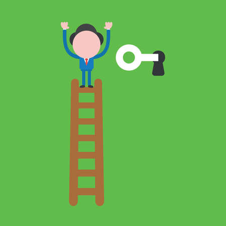 Vector illustration concept of businessman character climb to top of wooden ladder and unlock with key. Green background.