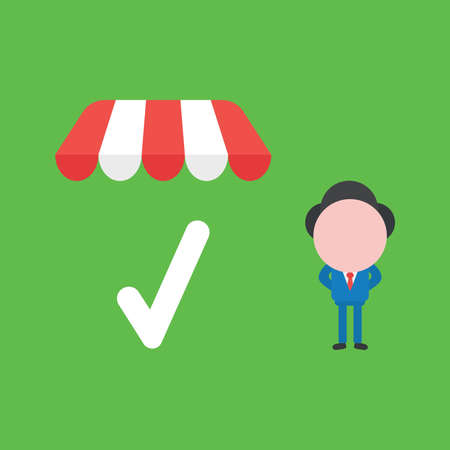 Vector illustration concept of businessman character with check mark under shop store awning. Green background. Ilustracja