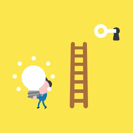 Vector illustration concept of businessman character climb to wooden ladder, unlock with key and take glowing light bulb idea. Yellow background.