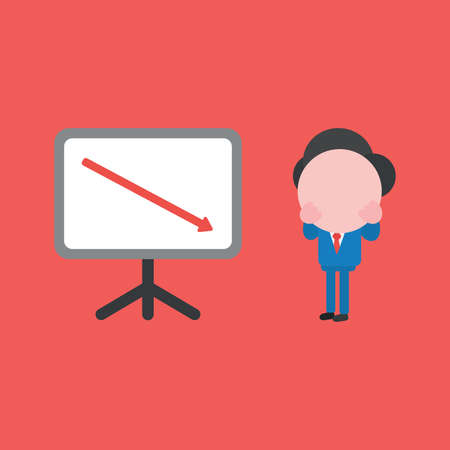 Vector illustration concept of businessman character with sales chart and arrow moving down. Red background. Imagens - 144061537