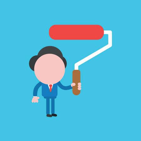 Vector illustration concept of businessman character holding paint brush roller. Blue background. Ilustração