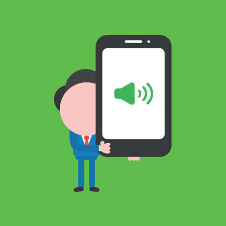 Vector illustration concept of businessman character holding smartphone with speaker sound. Green background. Stock Illustratie