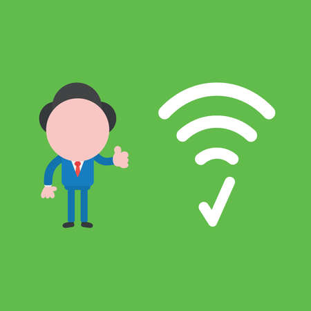 Vector illustration concept of businessman character with wireless wifi symbol, check mark and giving thumbs up. Green background.