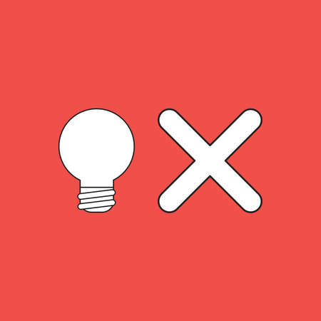Vector illustration concept of light bulb with x mark symbol. Red background. 向量圖像
