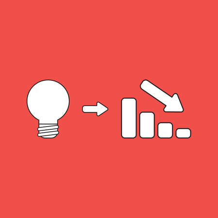 Vector illustration concept of light bulb idea with sales bar chart icon moving down. Red background. 向量圖像