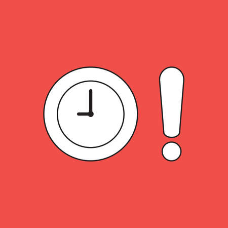 Vector illustration concept of clock time with exclamation mark. Red background.