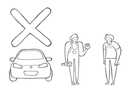 Vector car mechanic was unable to repair the car and said negatively. The customer is also very upset. Hand drawn illustration. Black outlines and white background.