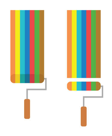 Vector icon set of paint roller brushes painting in different colors in flat color. Ilustrace